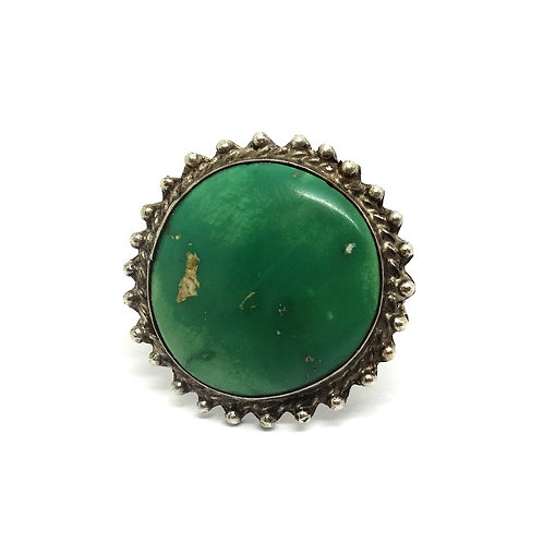 Green Turquoise NAVAJO 925 Silver Ring S-5.5