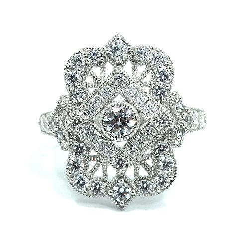 Art Deco Antique Reproduction Diamonique CZ Sterling Silver Filigree Ring