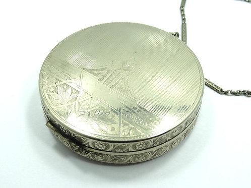 Antique Art Deco 1920's ELGIN MFG CO 14K White Gold Filled 2-1/2 MAKE-UP COMPACT