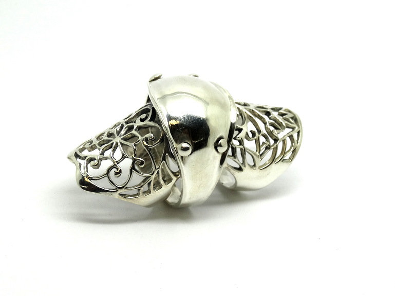 Sterling Silver Steam Punk Floral Knuckle Ring