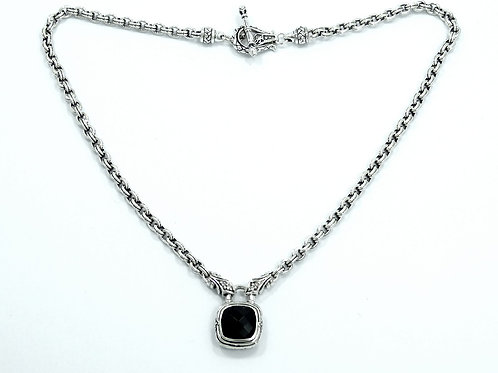 SCOTT KAY Cushion Pillow Cut BLACK ONYX Diamond Sterling Silver Chain Necklace