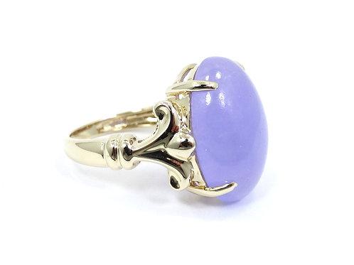 Elegant 11.67ct Cabochon LAVENDER JADE 14k Gold Ring 6.25