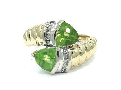 ALWAND VAHAN Trillion Cut PERIDOT Diamond 14k Gold Snake style Bypass Ring AV