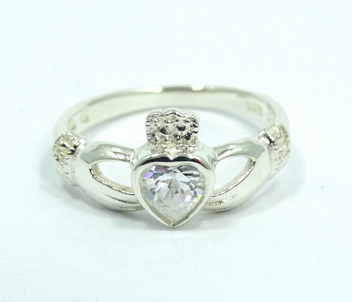 605e07add Beautiful CLADDAGH Irish Love CZ Heart in Hands 925 Sterling Silver Ring