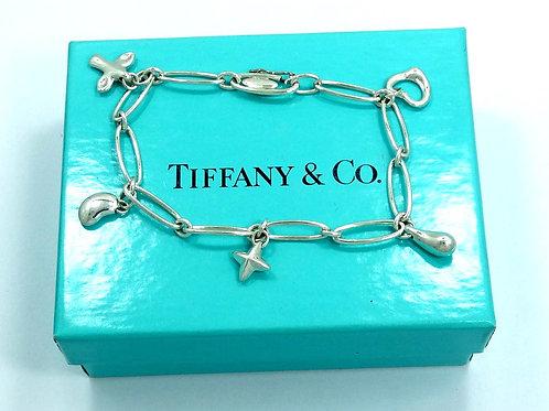 Tiffany & Co ELSA PERETTI Dove Heart Bean Star Tear drop Charm Bracelet