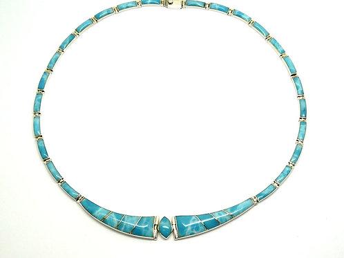 Mexico inlay LARIMAR 950 Silver Necklace