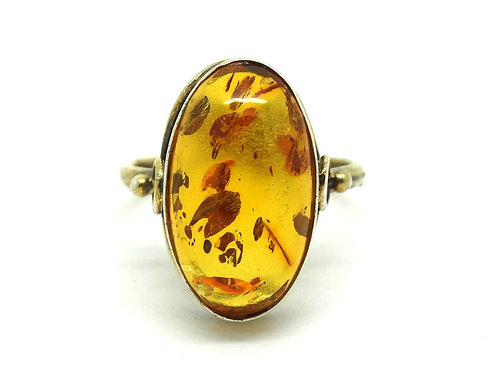 Vintage RUSSIAN Gold Gilt 875 Silver AMBER Ring