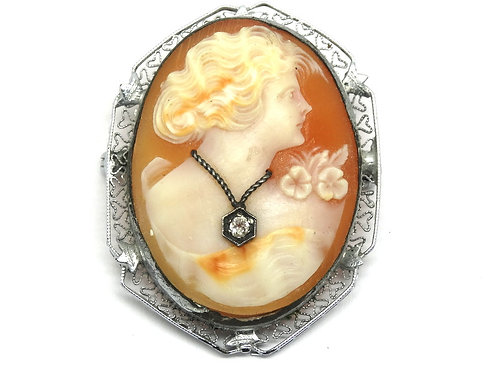 Beautiful Shell carved CAMEO lady with Diamond Necklace Sterling Silver Brooch