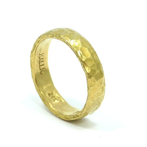 24K 9999 Gold KALLIO Artisan Hammered Hand Made 5mm Band Ring s.9