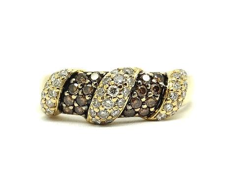 LEVIAN 14k Gold 1.25 Cts Chocolate & White Vanilla Diamond Ring Band