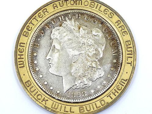1898 S Morgan $1 - BRASS Encased BUICK Advertisement Silver Dollar Coin Bezel
