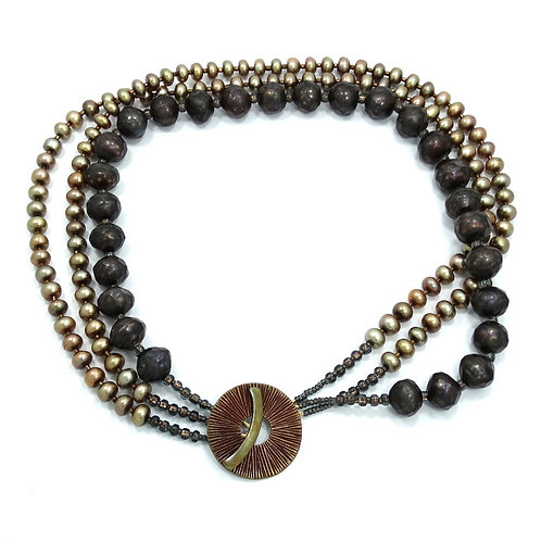 Awesome Modernist SAKI BRONZE Huge Faceted/Tumbled Black Golden Pearl Necklace