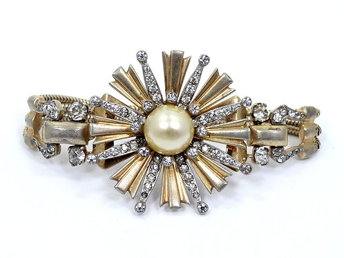 Antique ART DECO Gold Gilt Sterling Silver STAR BURST Pearl Rhinestone Bracelet
