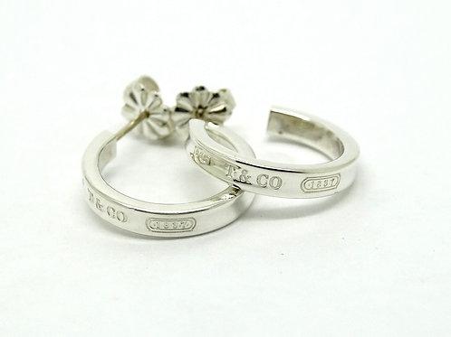 1837 T&Co 925 Silver Small Narrow HOOP Tiffany&Co Earrings