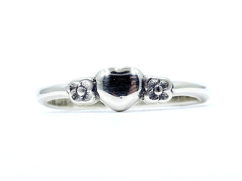Retired JAMES AVERY Petite HEART with 2 FLOWERS Sterling Silver Ring Band s.6