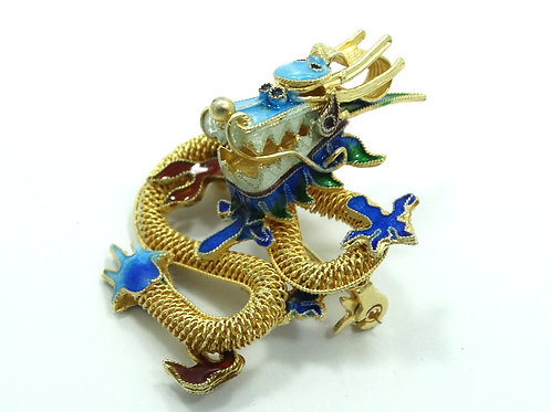 Antique CHINESE DRAGON Gold Gilt 925 Sterling Silver Cloisonne Enamel Brooch Pin