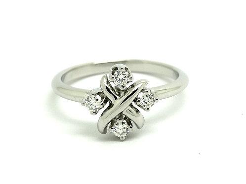 T&Co SCHLUMBERGER LYNN PT950 Tiffany & Co Platinum Diamond Ring