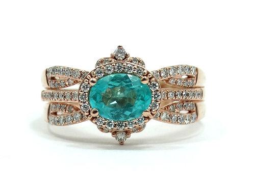 Rare PARAIBA TOURMALINE Rose Gold Diamond Ring