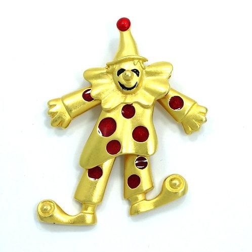 Vintage Gold Toned Mechanical CLOWN Red Enamel polka dot Spots Brooch Pin