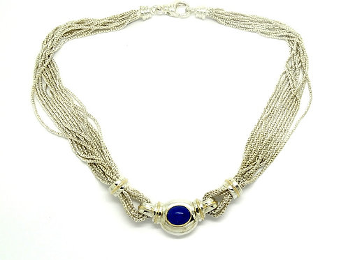 Rare Vintage Tiffany & CO LAPIS 925 Silver & Gold Necklace