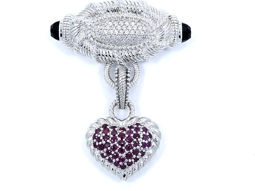 JUDITH RIPKA Pave CZ Faceted ONYX 925 Silver Brooch RUBY HEART Enhancer Pendant