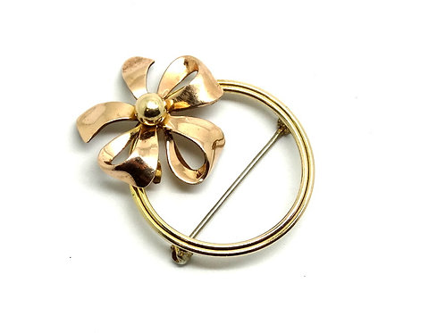 Vintage VAN DELL Gold Filled GF Ribbon Bow Pin