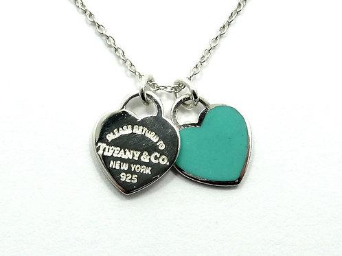 Please Return TIFFANY&CO DOUBLE HEART BLUE ENAMEL Sterling Silver Charm Necklace
