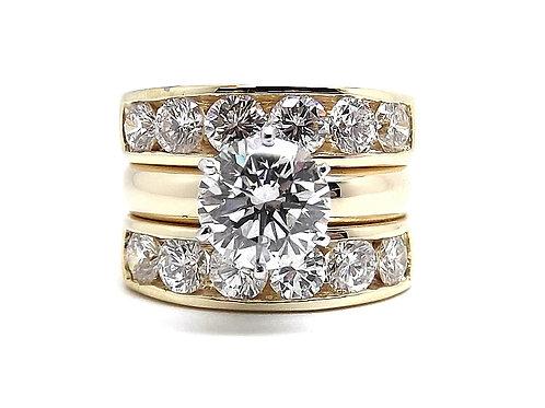 2.5 CT Diamond Center Stone + 1 Carat Ea Matching Bands 14k Rings