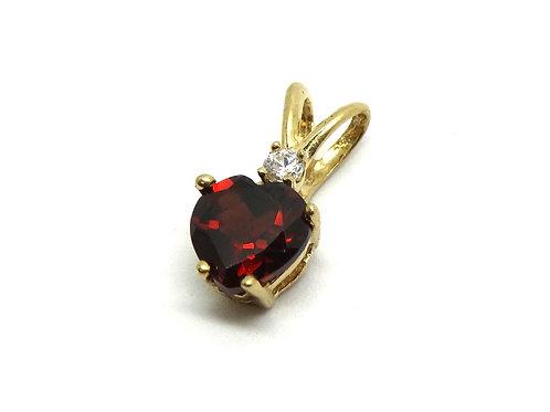 Petite Red GARNET Heart 10k Gold Pendant