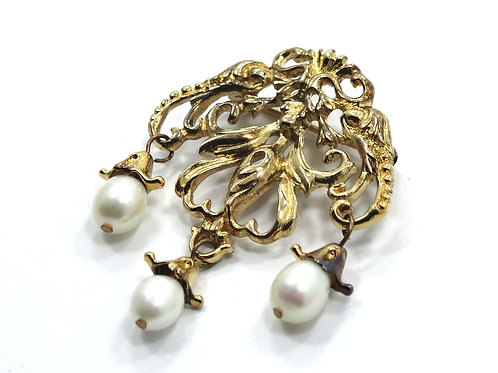 Art Nouveau style Vintage Costume Designer AD Freshwater Pearl Gold toned Brooch