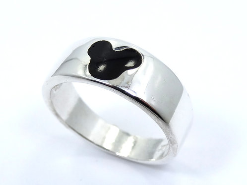 Vintage Black Enamel MICKEY MOUSE Head DISNEY 925 Sterling Silver Ring Band
