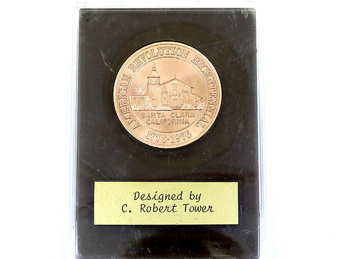 1976 American Revolution Bicentennial SANTA CLARA Ca MISSION Bronze Medal Coin