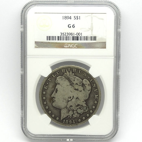Rare KEY DATE 1894 P Morgan Liberty Silver Dollar NGC Graded G6 Good+