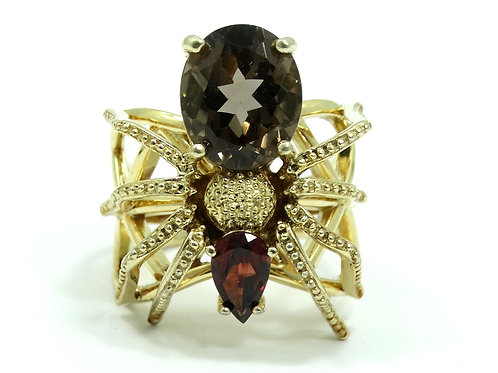 Creepy SPIDER Smoky Quartz Red Garnet Gold Plate Sterling Silver NF Ring s.9
