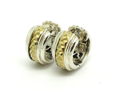SCOTT KAY SK 925 750 HUGGIE HOOP BASKET WEAVE 18K Gold Sterling Silver Earrings