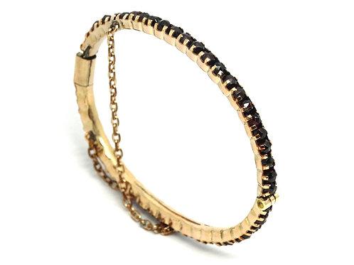 Antique VICTORIAN Rose Cut Bohemian GARNET 10K GOLD Filled Bangle Bracelet