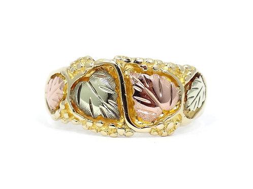 STAMPER Vintage Men's BLACK HILLS Rose Yellow 10k GOLD Wedding Band Ring
