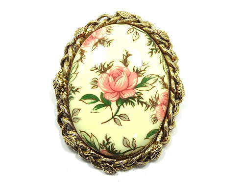 Gorgeous Ceramic ROSE Flower Print on Wheat Leaf bezeled Gold Plated Brooch Pin