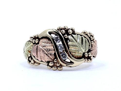 Vintage COLEMAN CO DIAMOND Band 10K BLACK HILLS GOLD Grapes & Leaves Ring