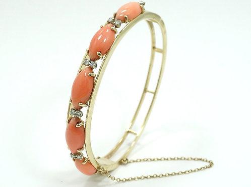 Vintage 5 Angelskin Pink CORAL 1/4 ct Diamond M 14K Gold Bangle Bracelet