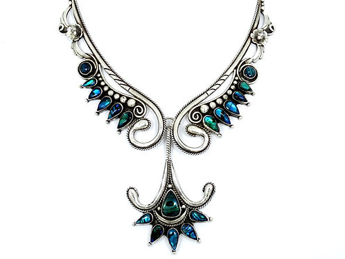 Vintage Navajo Artisan MARTIN Abalone PAUA SHELL Sterling Silver Necklace