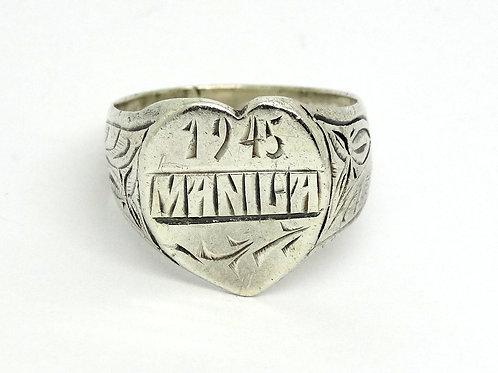 WW2 Trench Art 1945 MANILA Filigree SWEETHEART Ring s.10