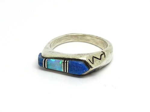 Navajo Inlay Lapis Opal Sterling Silver Ring