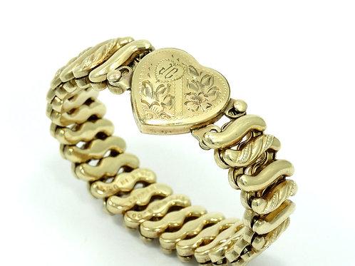 Antique Victorian CARMEN D.F.B.Co Etched HEART Gold Filled Expanding Bracelet
