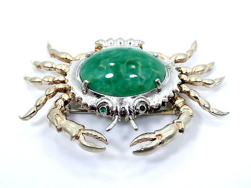 1940's Vintage CRAB Marbled Green LUCITE Sterling Silver Brooch Pin