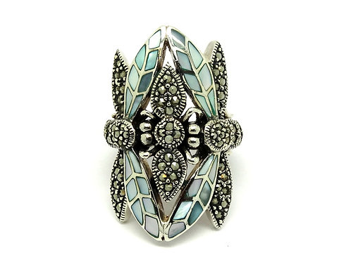Amazing Elongated Mother of Pearl & Marcasite DRAGONFLY Sterling Silver TH Ring