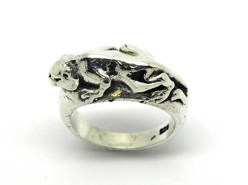 Black PANTHER Big Wild Cat 925 Silver Ring sz 7