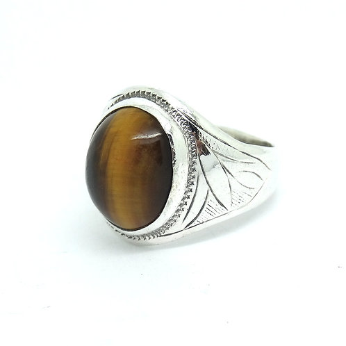 Men's Tiger Eye Chinese Sterling Silver Ring