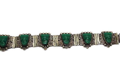 Green Onyx MAYAN TRIBAL MASK Vintage Mexican Sterling Silver Bracelet
