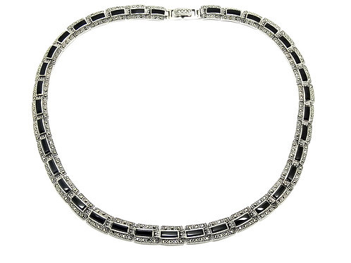 Elegant Vintage Sterling Silver Black Onyx Marcasite Link Collar Necklace